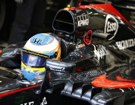 Fernando Alonso leaves the garage.