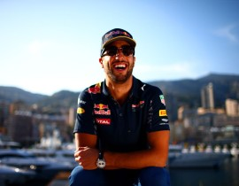 MONTE-CARLO, MONACO - MAY 25:  Daniel Ricciardo of Australia and Red Bull Racing poses on the Red Bull Energy Station during previews to the Monaco Formula One Grand Prix at Circuit de Monaco on May 25, 2016 in Monte-Carlo, Monaco.  (Photo by Dan Istitene/Getty Images)