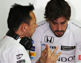 HOCKENHEIM, GERMANY - JULY 29:  Yusuke Hasegawa, Head of Honda F1 and Fernando Alonso of Spain and McLaren Honda talk in the garage during practice for the Formula One Grand Prix of Germany at Hockenheimring on July 29, 2016 in Hockenheim, Germany.  (Photo by Charles Coates/Getty Images)